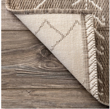 Moroccan Tribal Accent Light Brown Indoor/Outdoor Area Rugs - Durable/Easy Maintenance