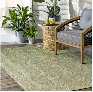 Moroccan Tribal Accent Sage Indoor/Outdoor Area Rugs - Durable/Easy Maintenance