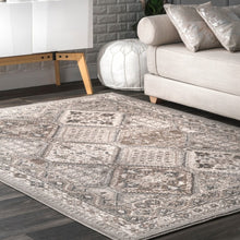 Transitional Panel Bordered Beige Soft Area Rug