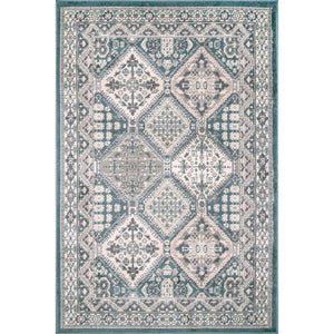 Transitional Panel Bordered Blue  Soft Area Rug