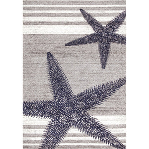 Contemporary Starfishes Stripes Blue Gray Soft Area Rugs