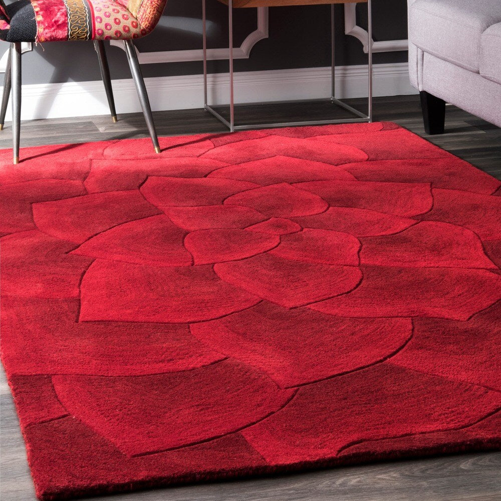 Premium Handmade Red Floral Wool Soft Area Rugs