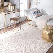 Handmade Braided Wool Off-white Soft Area Rugs