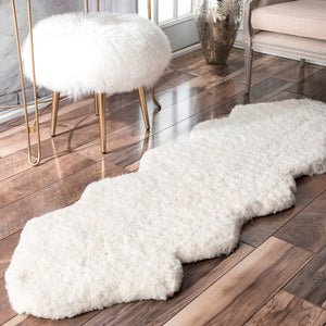 Handmade Ivory White Soft Plush Shag Area Rug