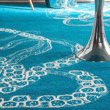 Handmade Wool Silk Octopus Pattern Light Blue Soft Area Rugs