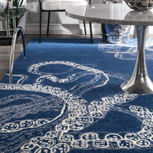 Handmade Wool Silk Octopus Pattern Navy Soft Area Rugs