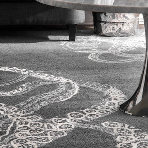 Handmade Wool Silk Octopus Pattern Gray Soft Area Rugs