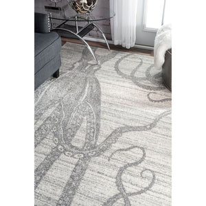 Octopus Pattern Silver Gray Soft Area Rugs