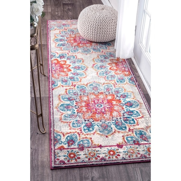 Floral Vintage Turquoise Pink Orange Area Rugs