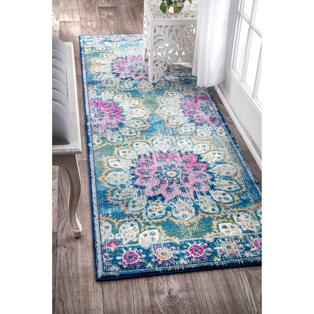 Floral Vintage Turquoise Blue Pink Area Rugs