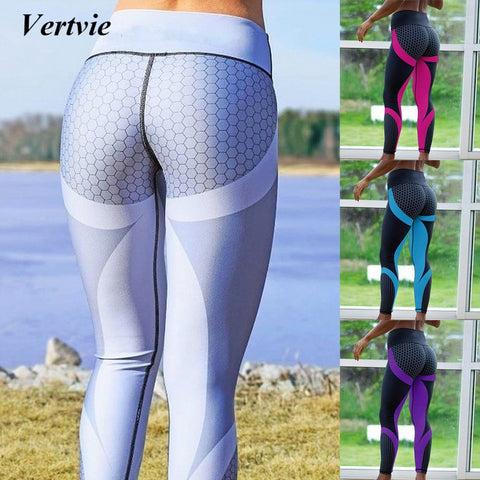Vertvie Brand Honeycomb Printed Sport Leggings Women Fitness