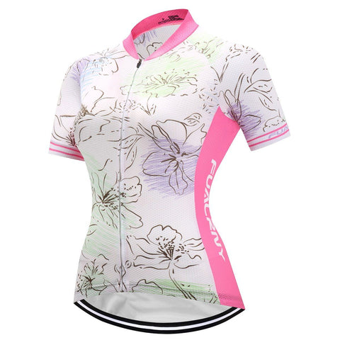 Short Sleeve Cycling Jersey - WhiteCherryBlossom