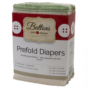 Buttons Cotton Prefold - 6 pack