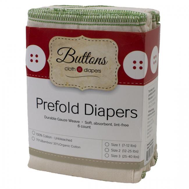 Buttons Prefolds, Bamboo - 6 pack