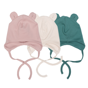 Wooly Organic Baby Hat with Ties and Teddy Ears (0-3 Months)