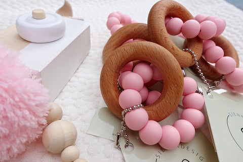 Pink Beech Wood Teether Teether - Suzemu