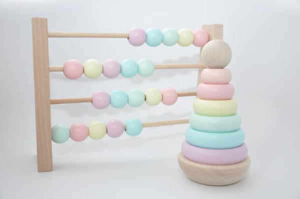 Wooden Abacus - Pastel Colours Wooden Toys - Suzemu - wooden toys - quality wooden toys - baby play