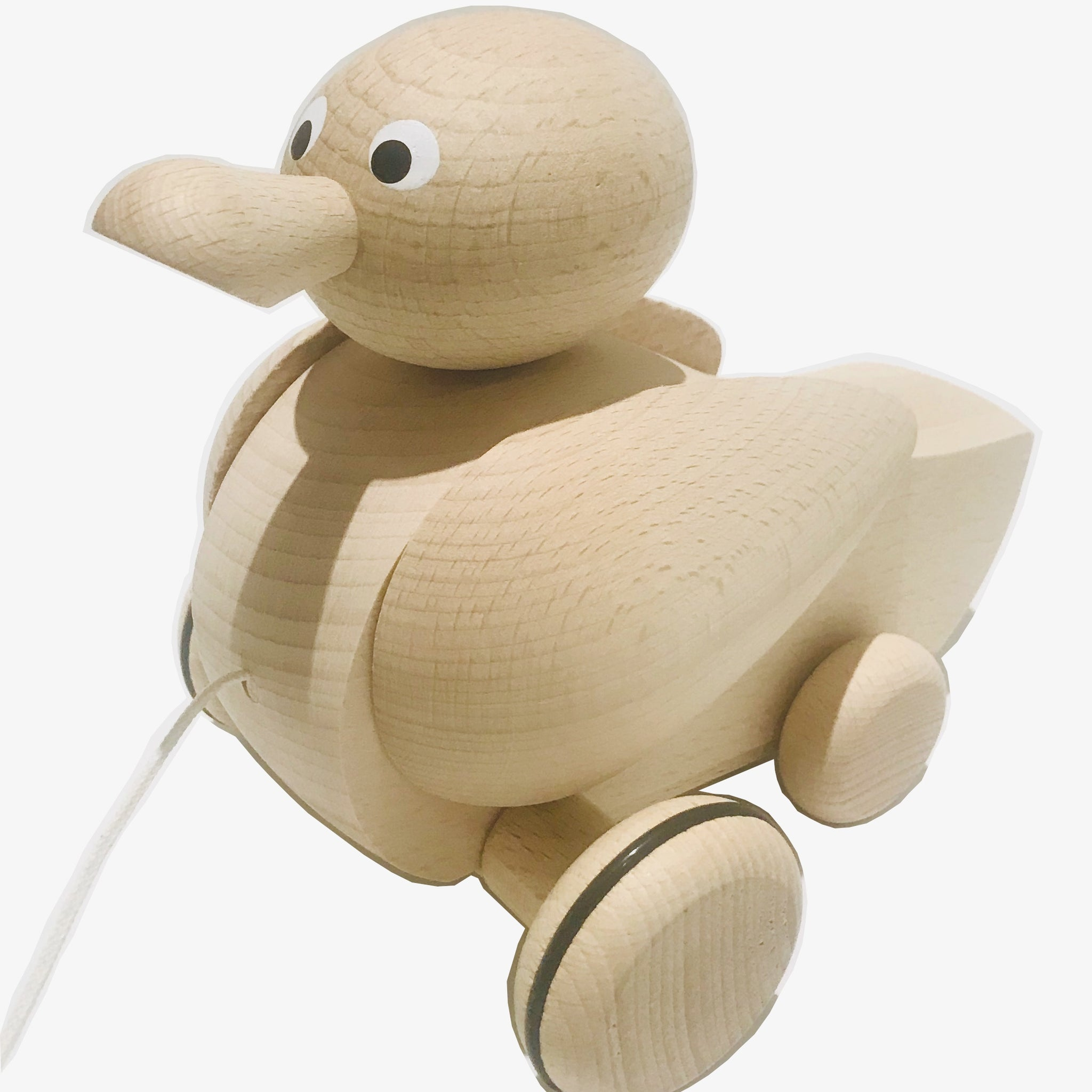 Handmade, high quality wooden toys for children and babies. Pull along wooden duck toy from Ella & Frederik available at Suzemu gift shop.