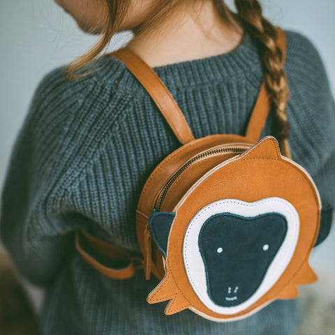The Monkey Donsje backpack is handmade in premium leather and is a backpack for toddlers - Suzemu