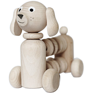 Handmade, high quality wooden toys for children and babies. Pull along wooden dog rattle toy from Ella & Frederik available at Suzemu gift shop.