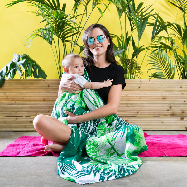 Extra Large Baby Muslin from Mama Rules made from Bamboo and Cotton in a trendy tropical print. Can be used as a breastfeeding cover and available from Suzemu.
