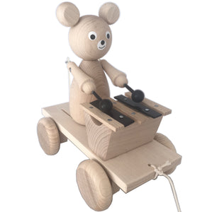 Handmade, high quality wooden toys for children and babies. Pull along wooden bear toy playing the xylophone from Ella & Frederik available at Suzemu gift shop.