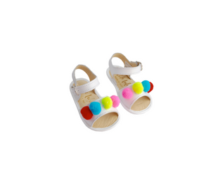 Carmen Pom Pom Leather Baby Sandals Shoes - Suzemu