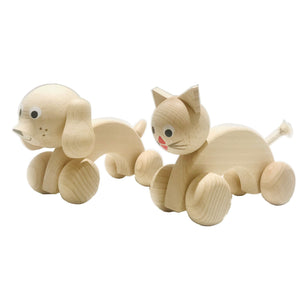Handmade, high quality wooden toys for children and babies. Push-along along wooden toy cat and dog giftset from Ella & Frederik available at Suzemu gift shop.