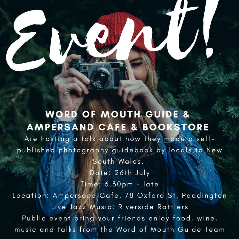 Talk on how we made Word of Mouth Guide NSW with live Jazz Band 26th July, Ampersand Cafe, Paddington