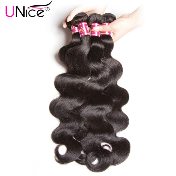 UNICE HAIR Brazilian Virgin Hair Body Wave 1 Piece Only 100% Human Hair Extensions Natural Color Unprocessed Hair Bundles 8
