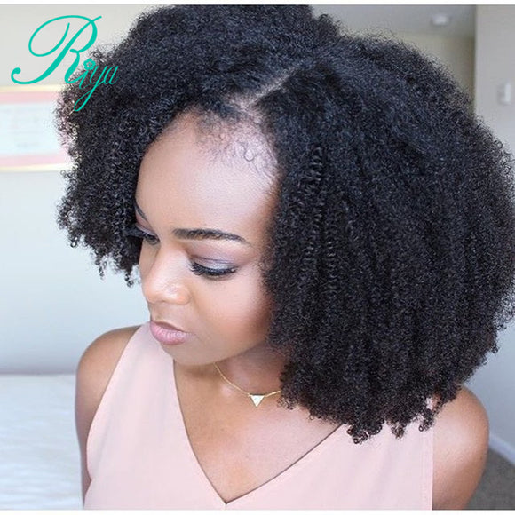 Man Unit Base - Afro Kinky Curly Lace Front Wig With Baby Hair Mongolian Virgin Short Human Hair Wigs With Baby Hair Bleached Knots Riya Hair Men Unisex