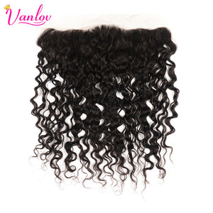 Vanlov 13x4 Lace Frontal Closure Brazilian Water Wave 130% Density Slightly Pre Plucked With Baby Hair  Non Remy Human Hair