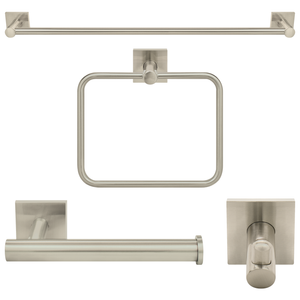 "Nuk3y Senna Modern Square 4-Piece Bathroom Hardware Accessory Set with 24"" Towel Bar"
