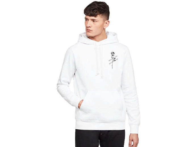 White Strike-Rose Kovic Unisex Embroidered Hoodie *Exclusive first drop*
