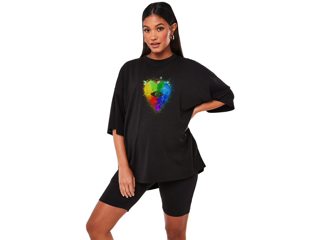 Black Multicoloured Heart Kovic Unisex T-shirt