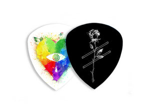 Kovic Multicoloured Heart and Strike-rose Guitar Picks (x5 pack)