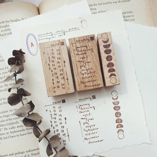 kurukynki rubber stamp - Monthly, Daily & Moon Phase