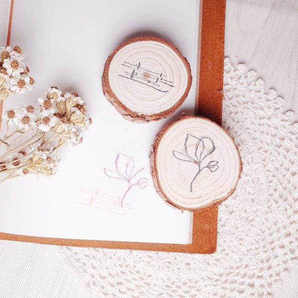 novebyvivent rubber stamp - botanical + pattern Set A