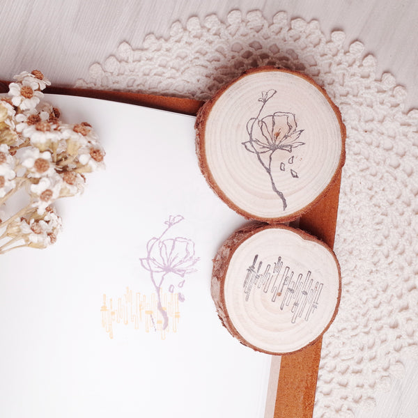 novebyvivent rubber stamp - botanical + pattern Set F