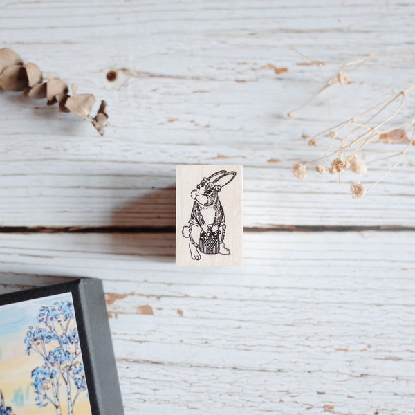 Akamegane stamp - Birch and bunnies - Gina the rabbit