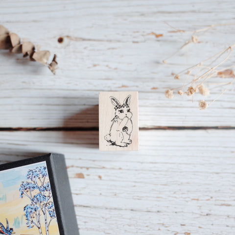Akamegane stamp - Birch and bunnies - Nina the rabbit
