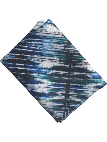 "Pocket Square, ""Blue and Black Drip"""