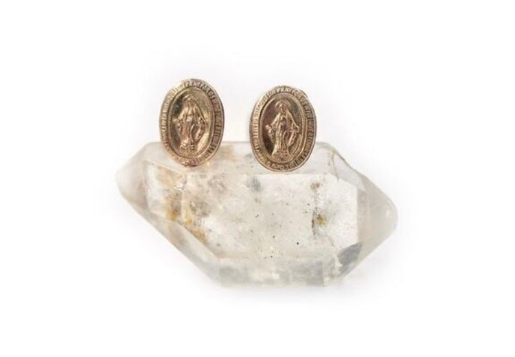 LOVE ME JEWELRY-Mother Mary Gold stud earrings