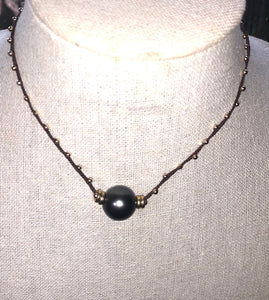 Sigal Jewels Large Single Tahitian Pearl with gold filled beads