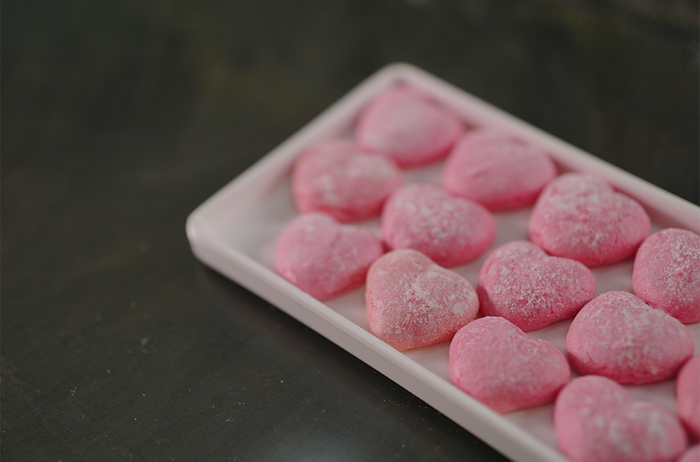 Pink Heart Almond Cookies