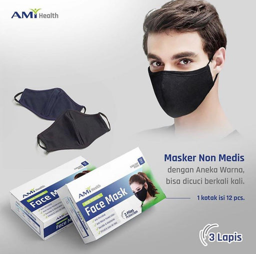 Ami Health 3-ply Non Surgical Face Mask @12pcs - SerataFoods