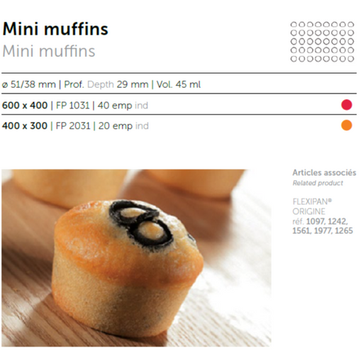 Flexipan FP2031 Mini-Muffins 20 Mould - SerataFoods
