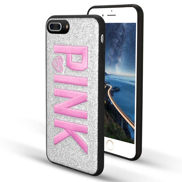 PINK Cover Fashion Design Glitter 3D Embroidery Love Pink Phone Case For iPhone X, iPhone 8, 7, 6 Plus for Samsung S9 plus 9+
