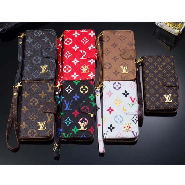 LV flip phone case for iPhoneX 7 6 6S TPU cover for iphone8 8plus with card slot lanyard protection shell cover for 6S 6plus
