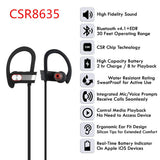 Wireless 4.1 Bluetooth Sports Stereo Heavy Bass Noise Cancelling IPX7 Waterproof MIC